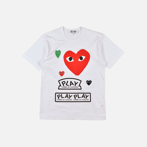 MULTI LOGO TEE - WHITE / RED