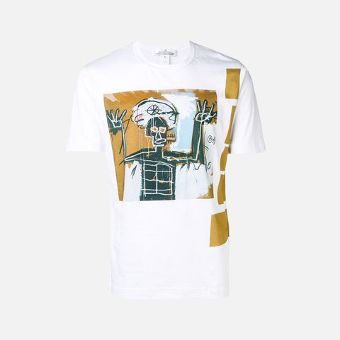 CDG SHIRT X BASQUIAT PRINT TEE - WHITE / TAN