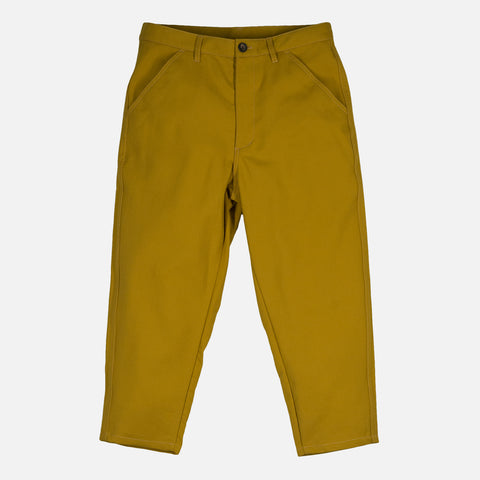 CROPPED WOVEN TROUSERS - MUSTARD