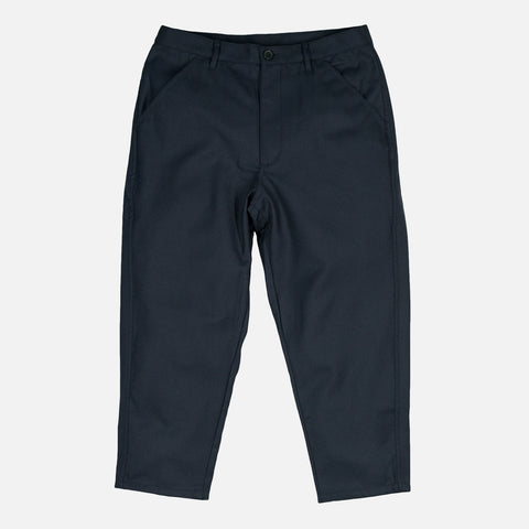 CROPPED WOVEN TROUSERS - NAVY