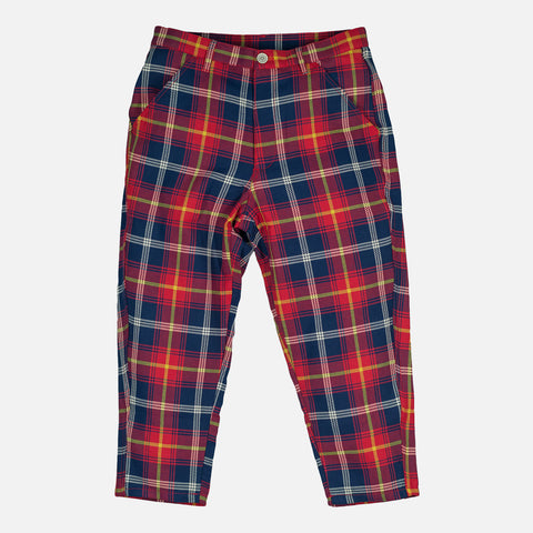 CROPPED WOVEN TROUSERS - RED PLAID