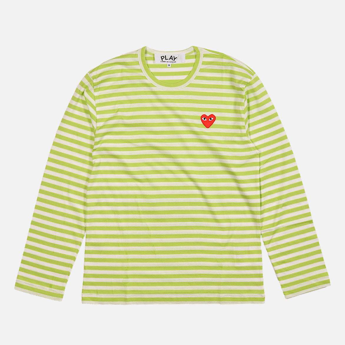 STRIPED HEART LOGO LS TEE - GREEN / WHITE
