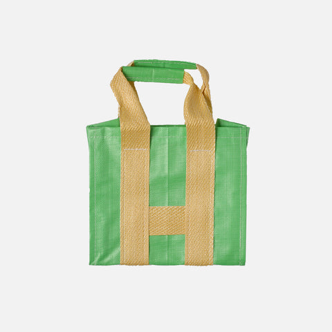 PVC SHOPPER TOTE - GREEN / YELLOW