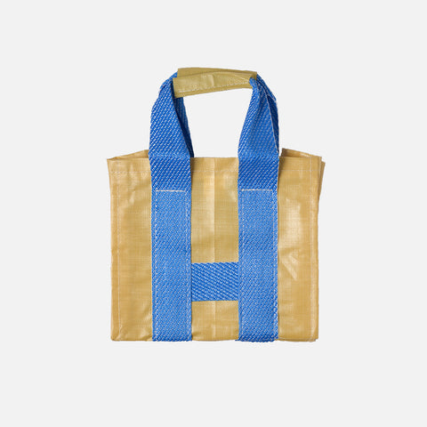 PVC SHOPPER TOTE - YELLOW / BLUE