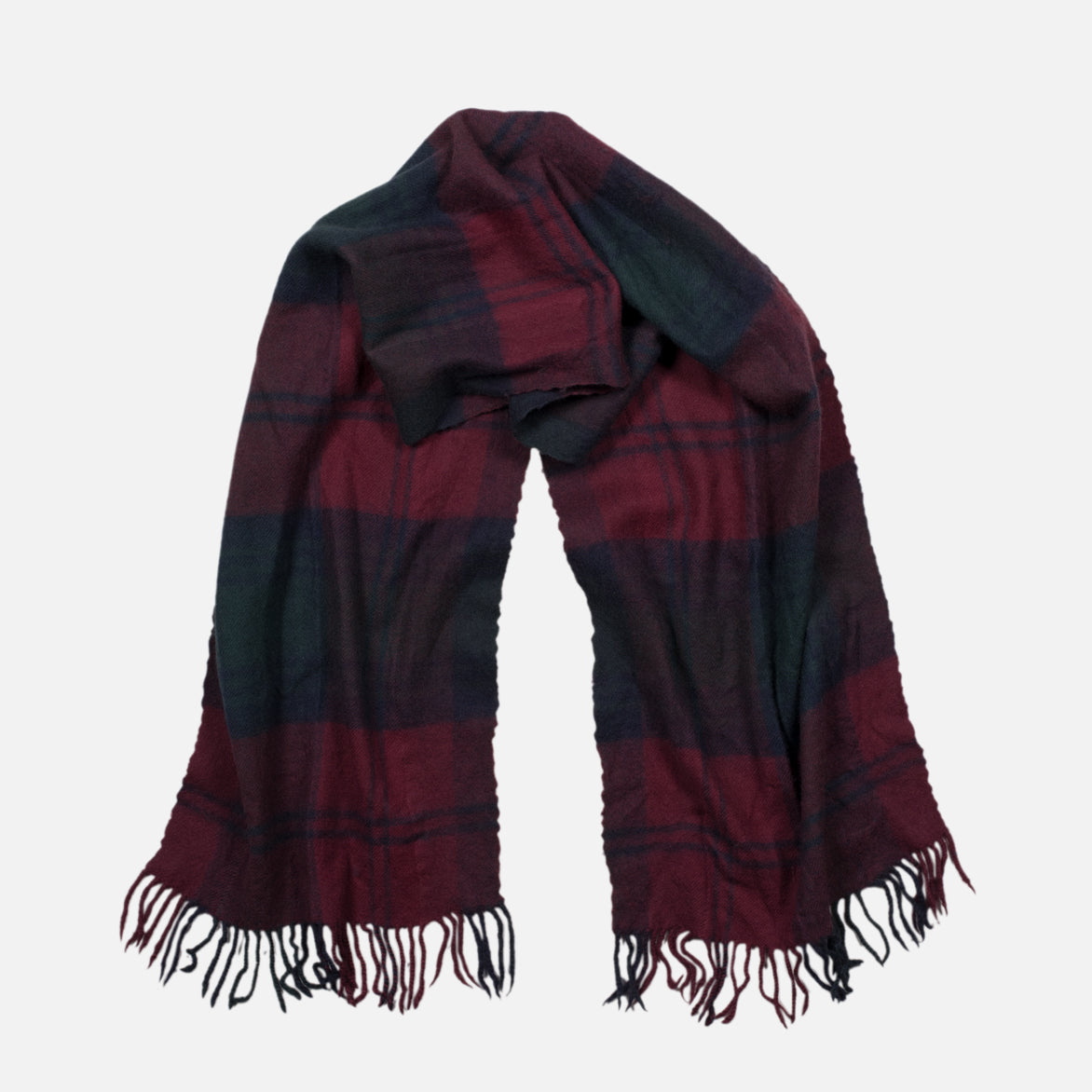 WOOL PLAID SCARF - RED
