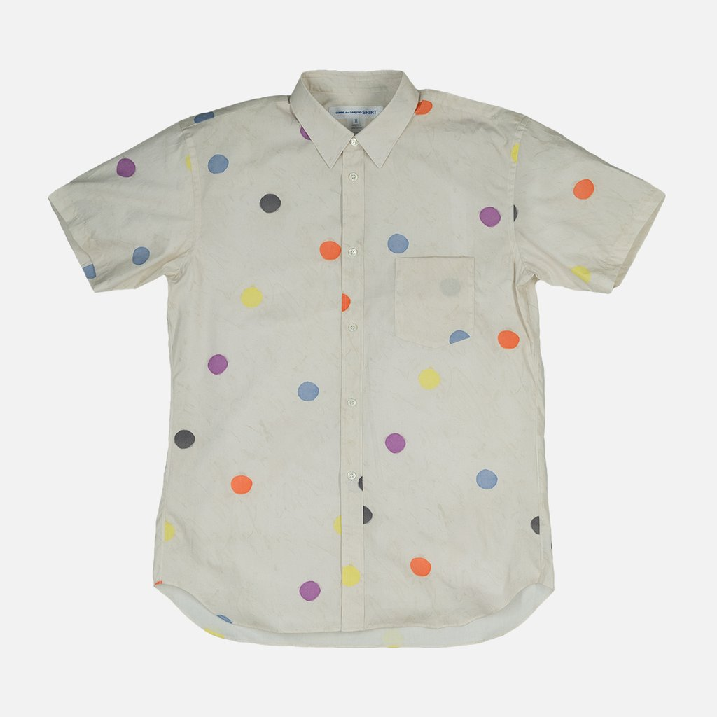 POLKA DOT WOVEN SHIRT - CREAM