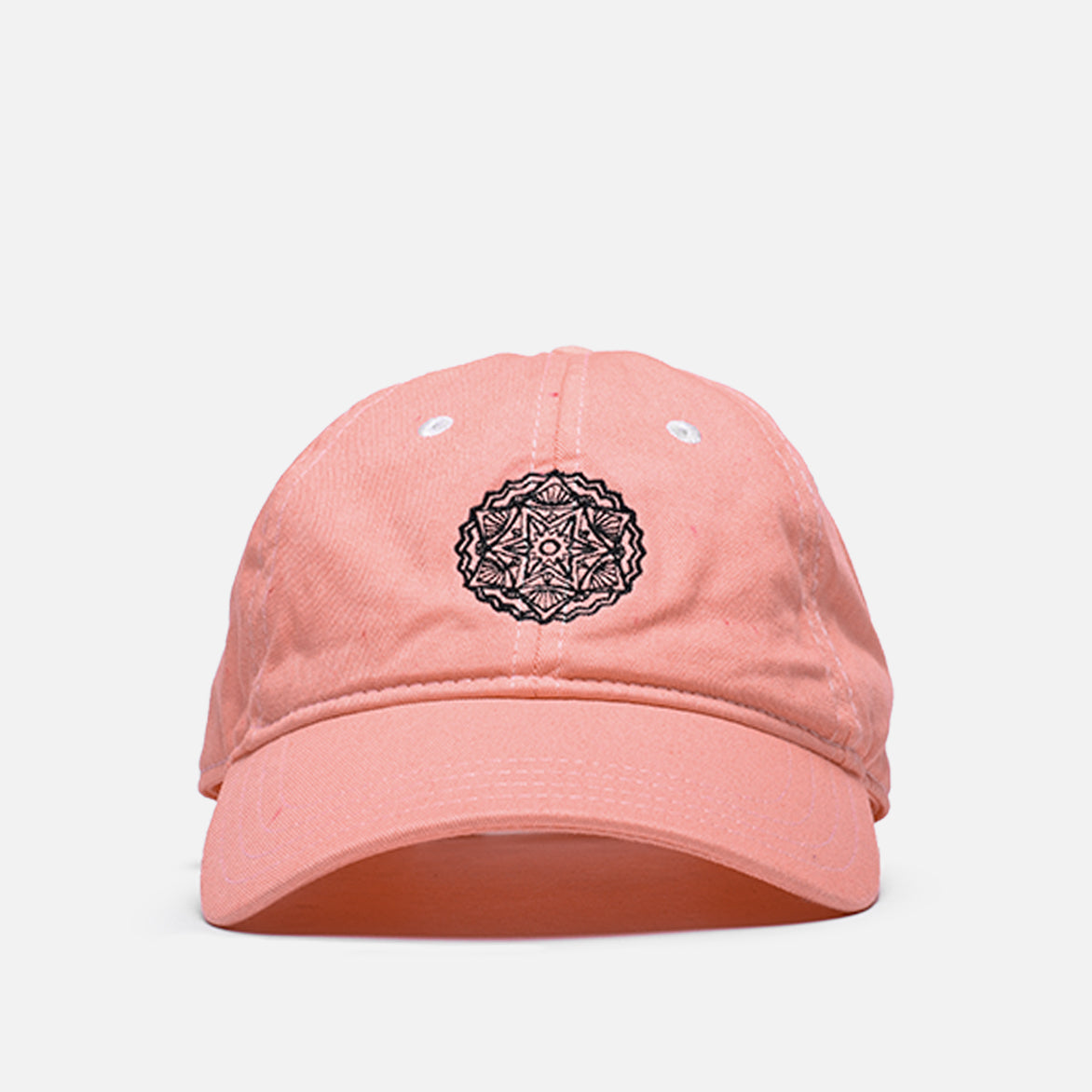 "WASHED COTTON 6 PANEL CAP ""BLACK MEDALLION"" - CORAL"