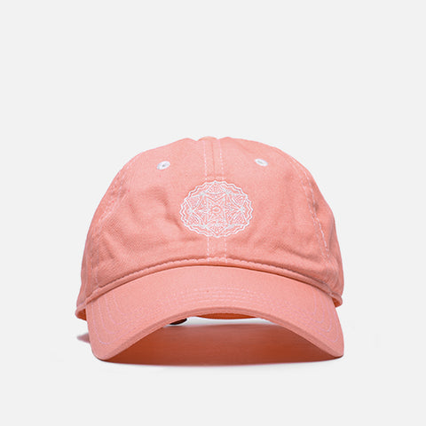 "WASHED COTTON 6 PANEL CAP ""WHITE MEDALLION"" - CORAL"