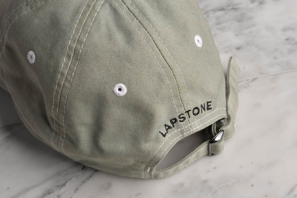 "WASHED COTTON 6 PANEL CAP ""SIGNATURE"" - OLIVE"