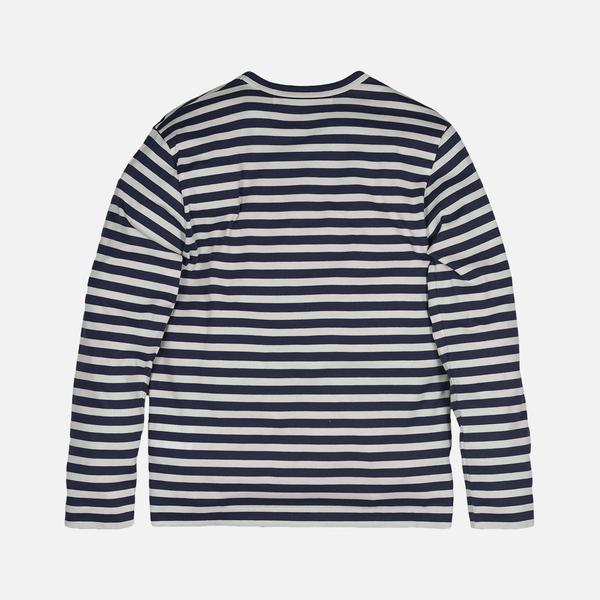 STRIPED HEART LOGO LS TEE - NAVY / WHITE
