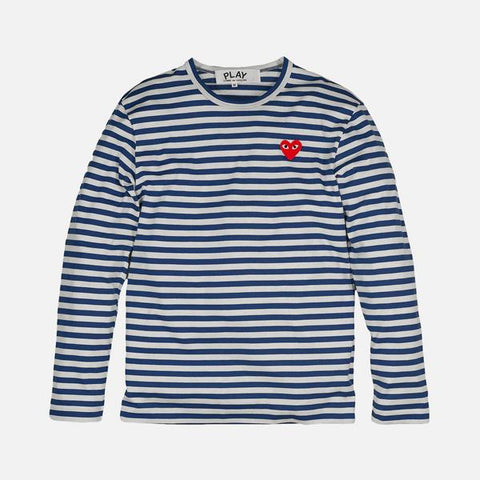 STRIPED HEART LOGO LS TEE - BLUE / WHITE