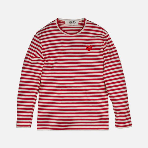 STRIPED HEART LOGO LS TEE - RED / WHITE