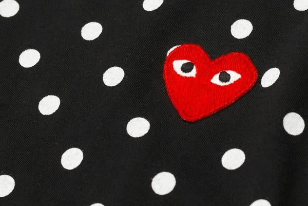 POLKA DOT HEART LOGO LS TEE - BLACK / WHITE