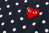 POLKA DOT HEART LOGO LS TEE - NAVY / WHITE