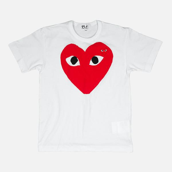 LARGE DOUBLE HEART LOGO TEE - WHITE / RED