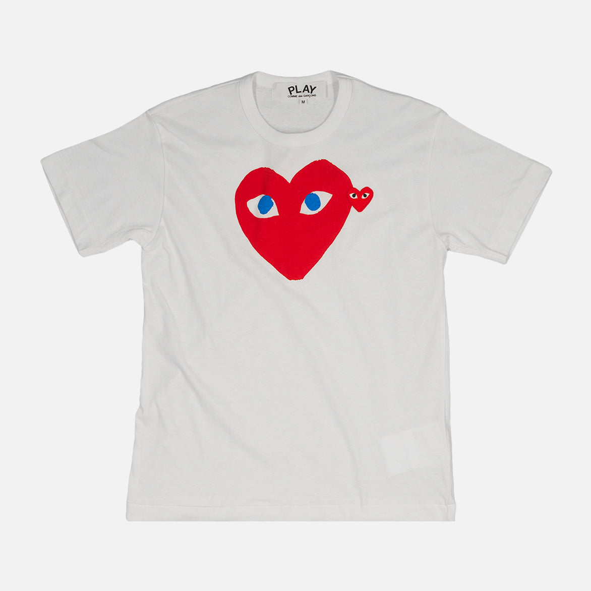 PLAY DOUBLE HEART LOGO TEE - WHITE / RED / BLUE