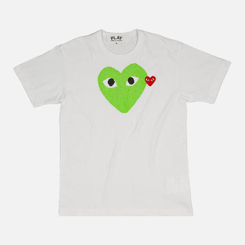 DOUBLE HEART LOGO TEE - WHITE / GREEN