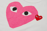 DOUBLE HEART LOGO TEE - WHITE / PINK
