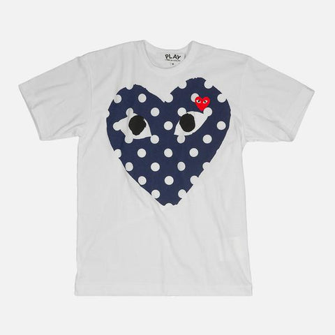 PLAY POLKA DOT HEART TEE - WHITE / NAVY