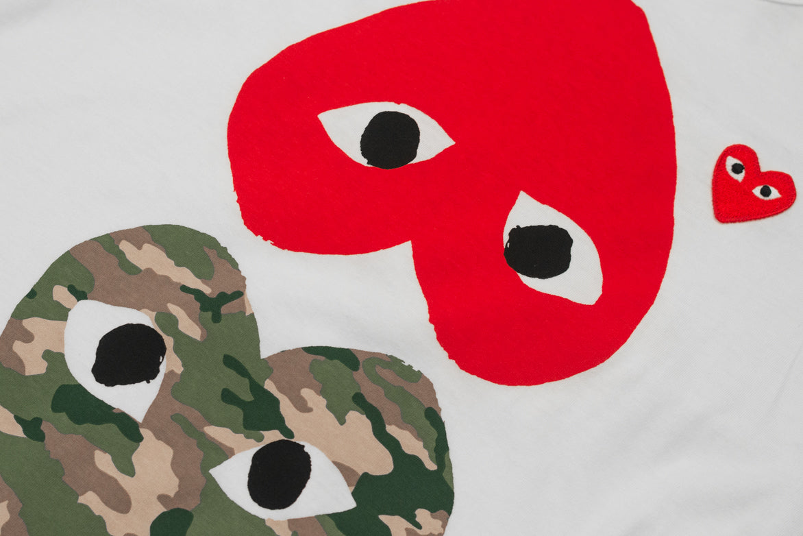 CAMO MIX HEART TEE - WHITE / RED / CAMO