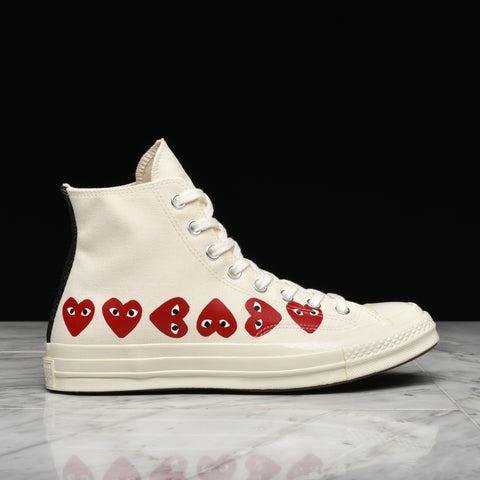CDG PLAY X CONVERSE MULTI HEART CHUCK 70 HI - WHITE