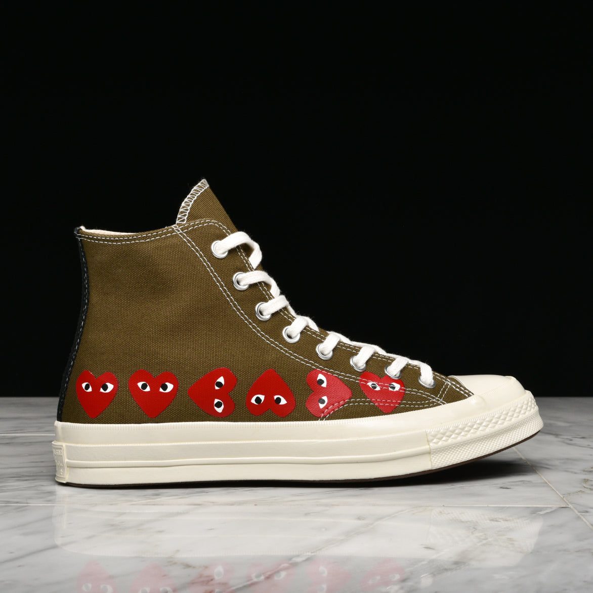 classic style of 2019 cheapest sale running shoes CDG PLAY X CONVERSE MULTI HEART CHUCK 70 HI - FIR GREEN