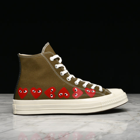 CDG PLAY X CONVERSE MULTI HEART CHUCK 70 HI - FIR GREEN