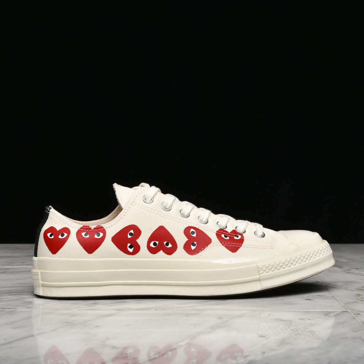 CDG PLAY X CONVERSE MULTI HEART CHUCK 70 PLAY OX WHITE