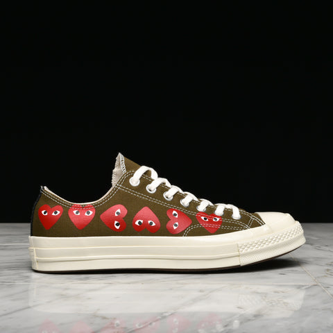 CDG PLAY X CONVERSE MULTI HEART CHUCK 70 OX - FIR GREEN