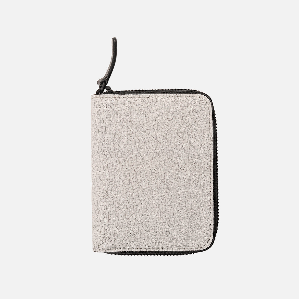 CRACKED LEATHER ZIP COIN CASE - WHITE