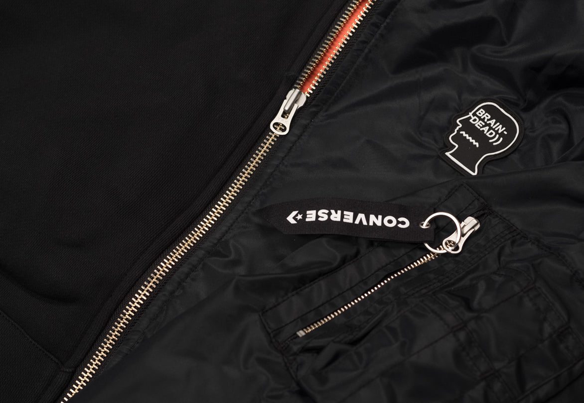 BRAINDEAD X CONVERSE HOODED BOMBER JACKET - BLACK / NAVY