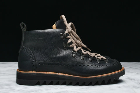 M130 NERO BROGUE HIKER RIPPLE SOLE - BLACK