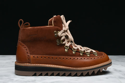 M130 ESPRESSO SUEDE & LEATHER BROGUE HIKER - BROWN