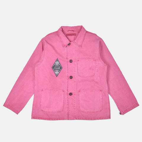 HERRINGBONE DIAMOND CHORE COAT - WASHED FUCHSIA