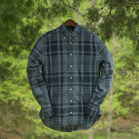 VINTAGE PLAID BUTTON DOWN - BLUE