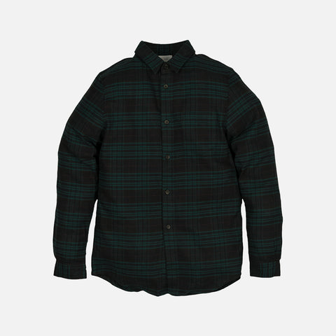 CURVE HEM BUTTON UP - TEAL / BLACK