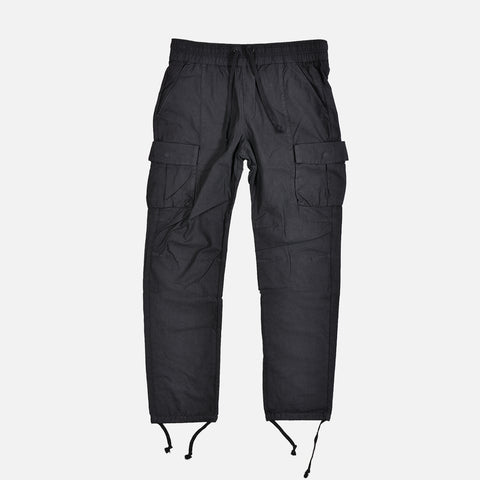 SATEEN CARGO PANTS - BLACK
