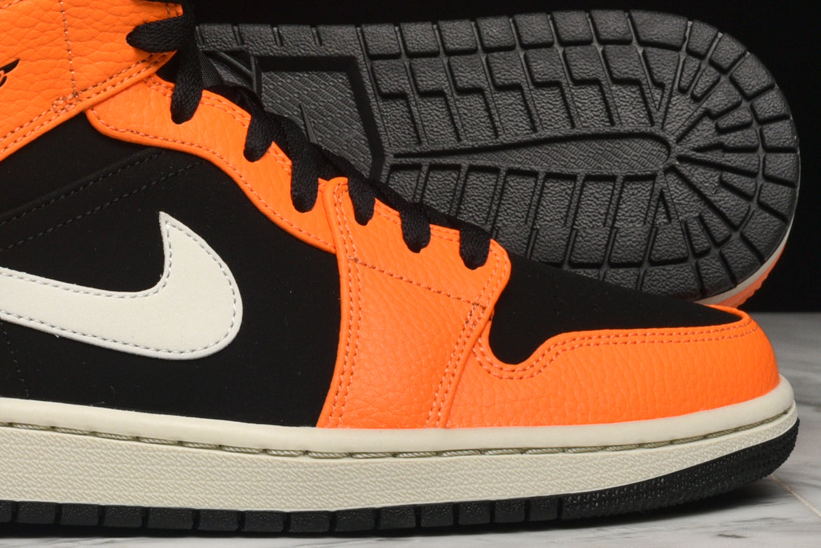 online store 842c1 b30c3 Black   Cone   Light Bone Orange 554724-062 Mens 8-12 Air Jordan 1 Mid Retro