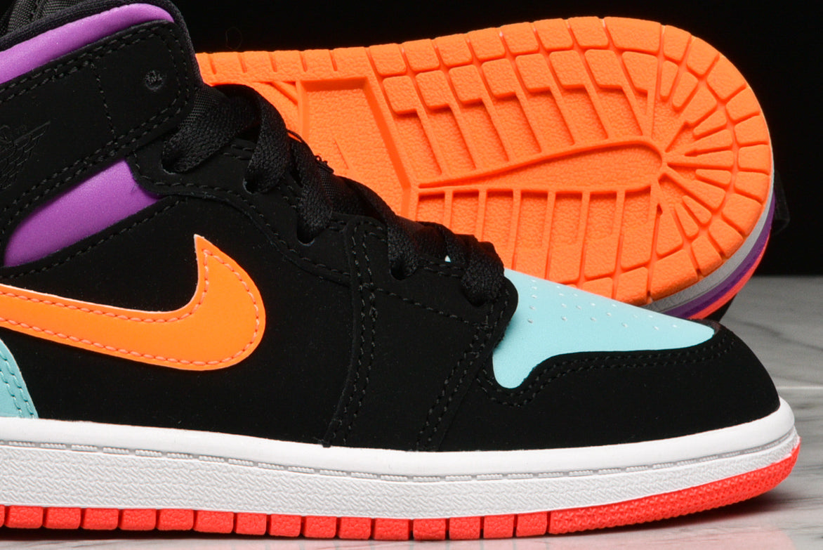 AIR JORDAN 1 MID (PS) - BLACK / TOTAL ORANGE / AURORA GREEN