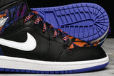 AIR JORDAN 1 MID SE (PS) - BLACK / WHITE / RUSH PURPLE