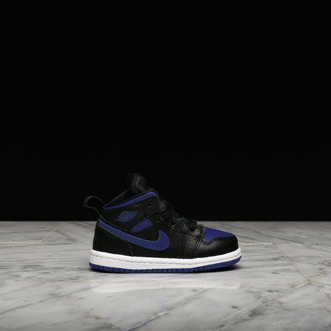 AIR JORDAN 1 MID (TD) - BLACK / HYPER ROYAL / WHITE
