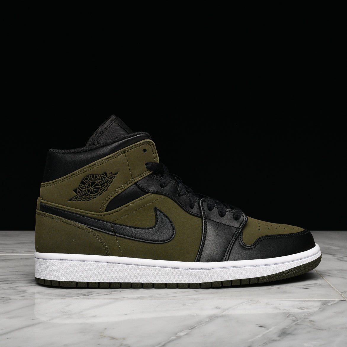 AIR JORDAN 1 MID - OLIVE CANVAS   BLACK  fa9c055f2