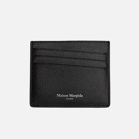 GRAINY LEATHER CARD HOLDER - BLACK