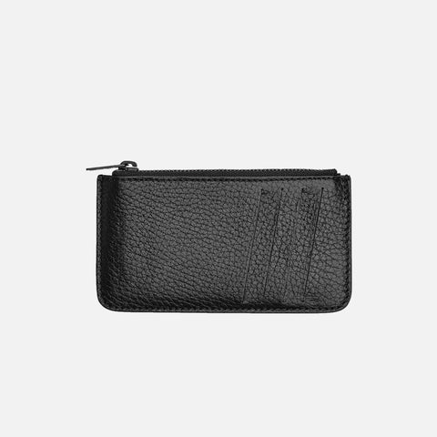 LEATHER CARD HOLDER PURSE - BLACK