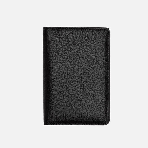 LEATHER BI-FOLD CARD HOLDER - BLACK