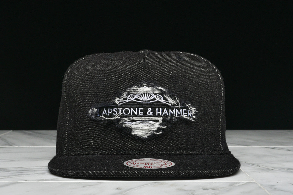 "LAPSTONE & HAMMER x MITCHELL & NESS ""BLACK DESTRUCTED DENIM"" - LAPSTONE & HAMMER"
