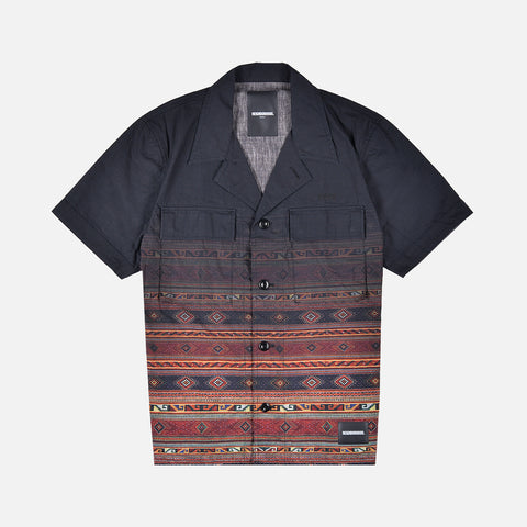 MILITARY VETERAN S/S CAMP SHIRT - BLACK