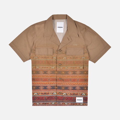 MILITARY VETERAN S/S CAMP SHIRT - KHAKI