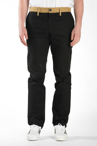 BARRINGTON SLIM PANT - BLACK / WHEAT