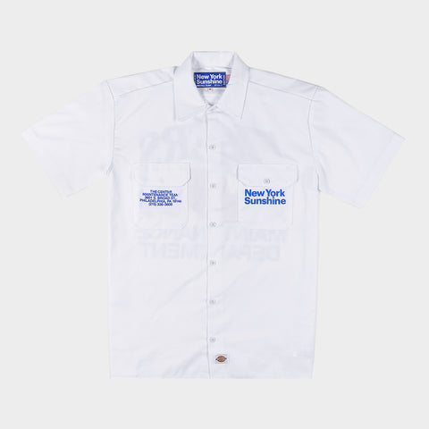 NEW YORK SUNSHINE X 76ERS DICKIES INSTALL TEAM S/S WORK SHIRT - WHITE